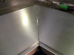 Linen stainless steel bench top seam example