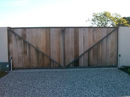 Mild steel frame with cedar tongue and groove automatic opening gate 2